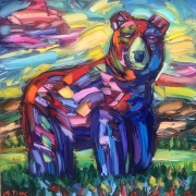 Red Bear with Abstract Cloud
